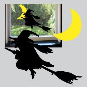 Statisch hechtende raamsticker Heks met gele maan