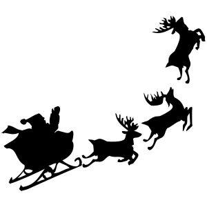 Raamstickers Kerstman met Slee en Rendieren